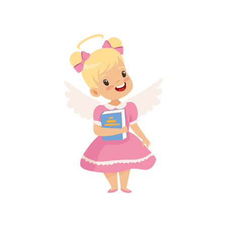 Little Winged Girl With Halo on Her Head Standing with Book, Cute Child with Good Manners Vector Illustration on White Background. Imagens - 124297001