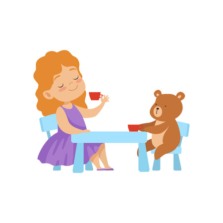 Cute Little Girl Playing With Her Teddy Bear at Tea Party Vector Illustration on White Background. Illustration