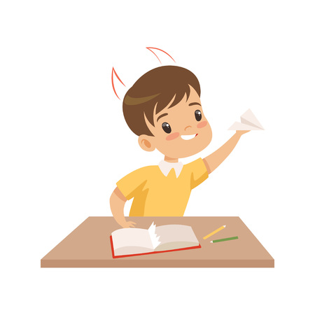 Naughty Boy Ripping Pages of Book and Doing Paper Planes, Bad Child Behavior Vector Illustration on White Background.