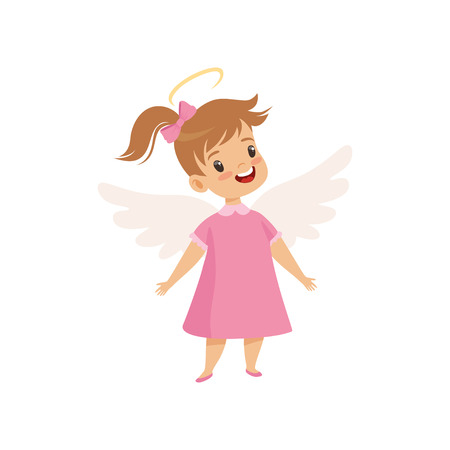 Little Winged Girl With Halo on Her Head Wearing Pink Dress, Cute Child with Good Manners Vector Illustration on White Background. Illustration