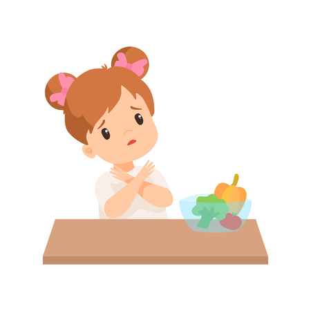 Cute Little Girl Does Not Want to Eat Vegetables, Kid Refusing to Eat Healthy Food Vector Illustration on White Background. Standard-Bild - 119079339