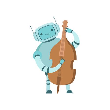 Cute Robot Musician Playing Cello Musical Instrument Vector Illustration Standard-Bild - 119084996