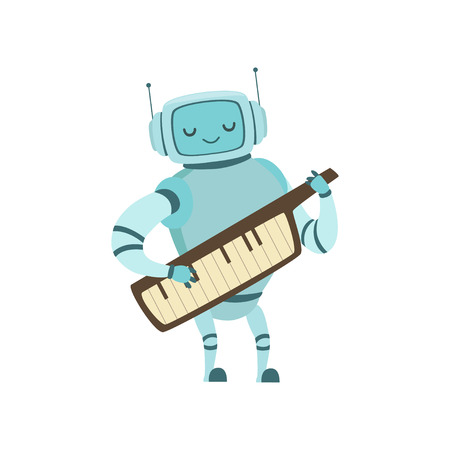 Cute Robot Musician Playing on Keytar Musical Instrument Vector Illustration
