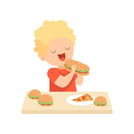 Cute Happy Boy Eating Burger, Kid Enjoying Eating of Fast Food Vector Illustration on White Background. Standard-Bild - 119081151
