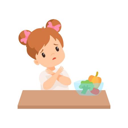 Niña linda no quiere comer verduras, niño que se niega a comer alimentos saludables ilustración vectorial sobre fondo blanco.