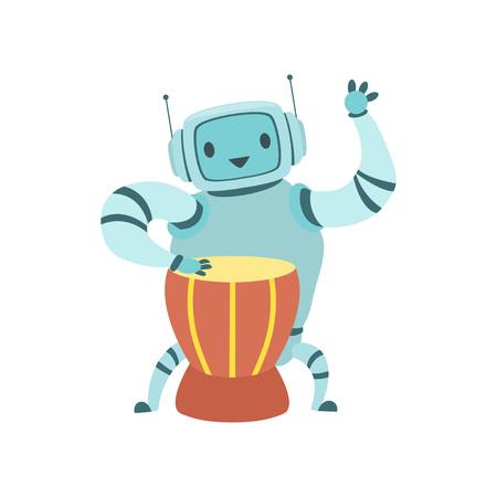 Cute Robot Musician Playing Ethnic Drum Musical Instrument Vector Illustration Standard-Bild - 119084998
