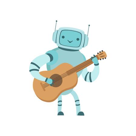 Cute Robot Musician Playing Guitar Musical Instrument Vector Illustration Standard-Bild - 119084999