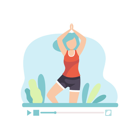 Girl Practicing Yoga, Young Woman Blogger Creating Content about Her Hobby and Posting It on Social Media, Online Channel Concept Vector Illustration on White Background.