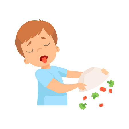 Little Boy Refusing to Eat Vegetables, Kid Does Not Like Healthy Food Vector Illustration on White Background. Vettoriali