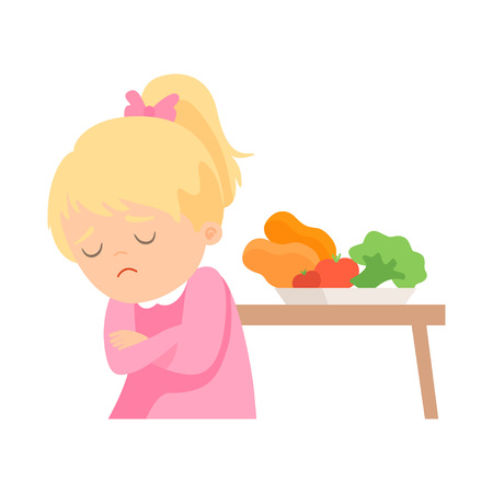 Cute Girl Does Not Want to Eat Vegetables, Kid Does Not Like Healthy Food Vector Illustration on White Background.