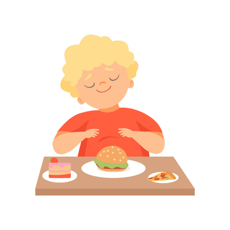 Cute Overweight Boy Eating Burger, Kid Enjoying Eating of Fast Food Vector Illustration on White Background.