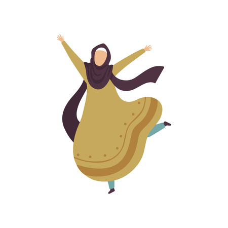 Happy Arab Muslim Woman in Traditional Clothing Vector Illustration Standard-Bild - 119085002