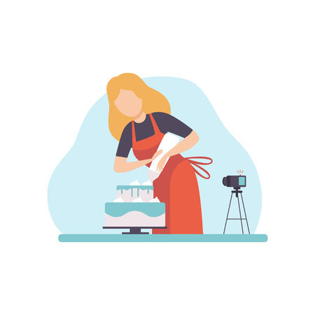 Girl Baking and Decorating Cake, Young Woman Blogger Recording Video on Camera and Posting It on Social Media, Online Channel Concept Vector Illustration on White Background. Illustration