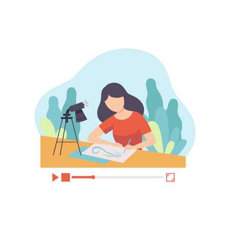 Girl Drawing Picture, Young Woman Blogger Creating Content about Her Hobby and Posting It on Social Media, Online Channel Concept Vector Illustration on White Background.