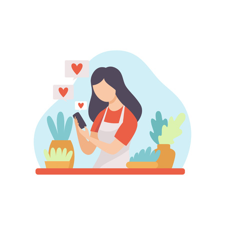 Girl Talking About Houseplants, Young Woman Blogger Creating Content about Her Hobby and Posting It on Social Media, Online Channel Concept, Female Video Streamer Vector Illustration on White Background. Ilustração