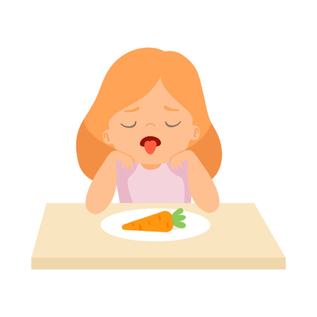 Cute Girl Does Not Want to Eat Carrot, Kid Does Not Like Vegetables Vector Illustration on White Background.