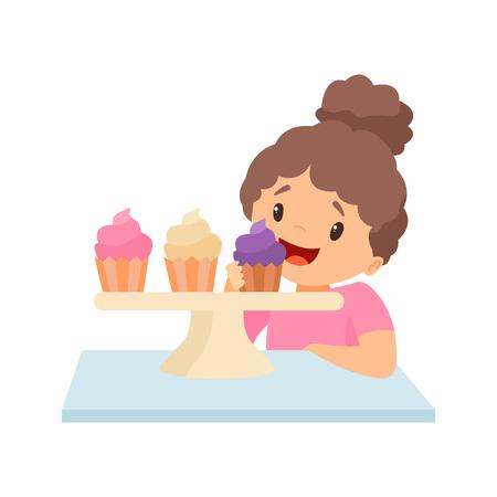 Mignonne petite fille heureuse mangeant des cupcakes Vector Illustration sur fond blanc.