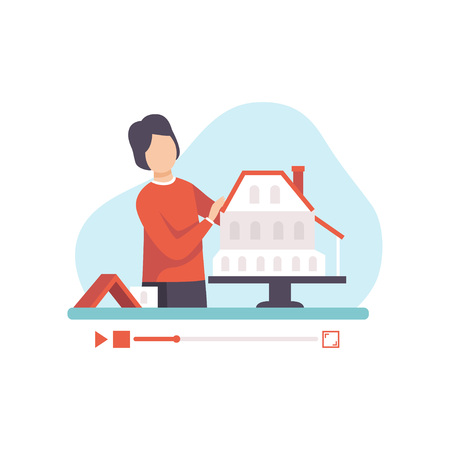 Male Architect Presenting Model of Building, Young Man Blogger Creating Content about His Hobby and Posting It on Social Media, Online Channel Concept Vector Illustration on White Background. Illustration