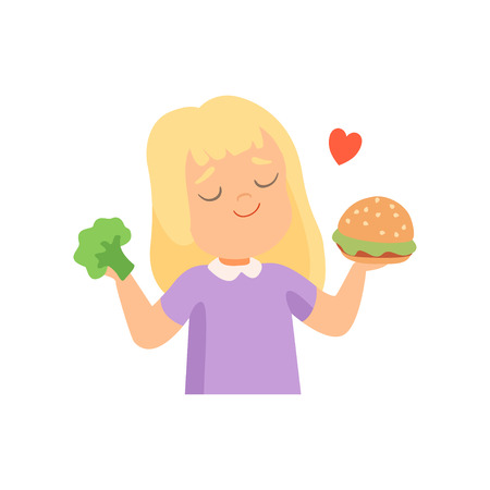 Girl Holding Burger and Broccoli in Her Hands, Girl Preferring to Eat Fast Food Vector Illustration on White Background.
