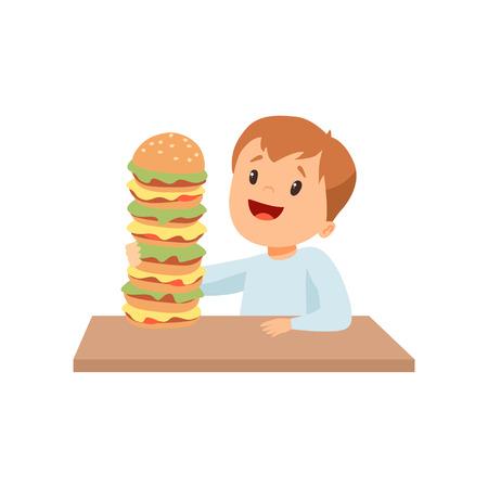 Netter glücklicher Junge mit riesigem Burger, Kind, das das Essen von Fast-Food-Vektor-Illustration genießt Vektorgrafik