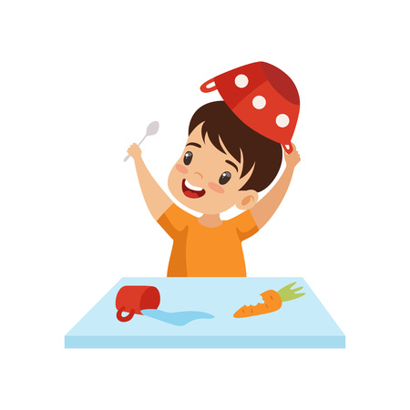Boy Dabbling with Food at Table, Cute Naughty Kid, Bad Child Behavior Vector Illustration on White Background. Фото со стока - 124297022