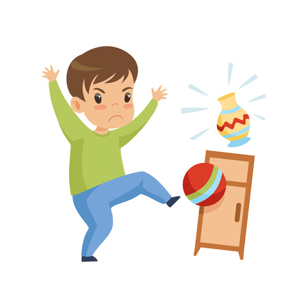 Ładny niegrzeczny chłopiec bawi się piłką w domu, złe zachowanie dziecka wektor ilustracja na białym tle.