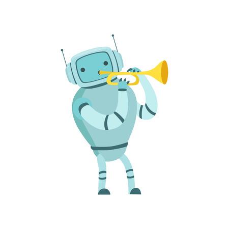 Cute Robot Musician Playing Trumpet Musical Instrument Vector Illustration Standard-Bild - 119146691