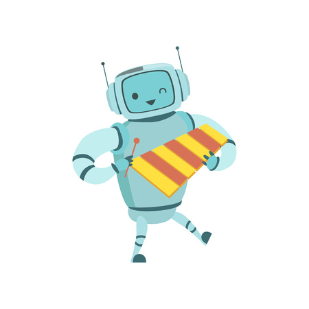 Cute Robot Musician Playing Xylophone Musical Instrument Vector Illustration Illustration