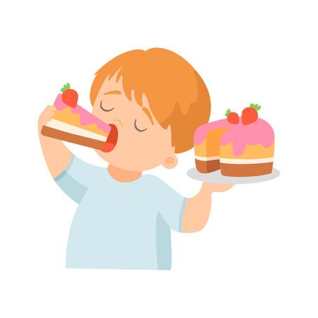 Netter kleiner Junge, der cremigen Kuchen mit Erdbeervektorillustration auf weißem Hintergrund isst. Vektorgrafik