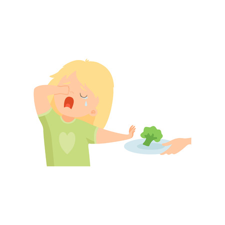 Cute Crying Girl Refusing to Eat Broccoli, Kid Does Not Like Healthy Food Vector Illustration on White Background. Çizim