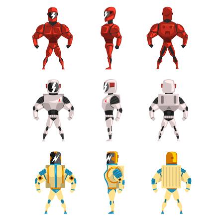 Robot costumes set, superhero man vector Illustrations on a white background