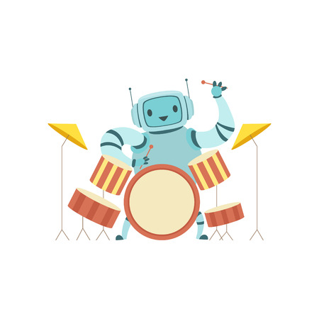 Cute Robot Musician Playing Drums Musical Instruments Vector Illustration Vector Illustration