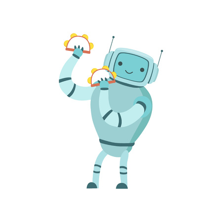 Cute Robot Musician Playing Tambourines Musical Instruments Vector Illustration Standard-Bild - 119146714