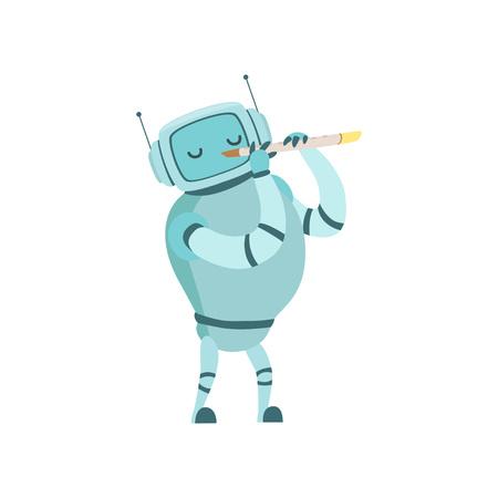 Cute Robot Musician Playing Flute Musical Instrument Vector Illustration Standard-Bild - 119146716