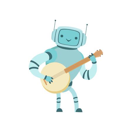Cute Robot Musician Playing Banjo Musical Instrument Vector Illustration Standard-Bild - 119146718