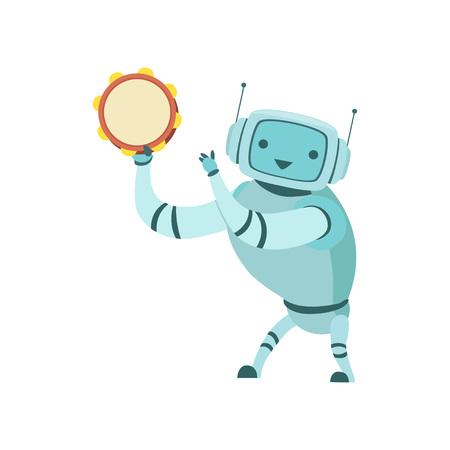 Cute Robot Musician Playing Tambourine Musical Instrument Vector Illustration Standard-Bild - 119146728