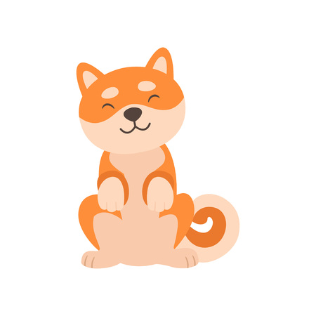 Cute Shiba Inu Dog Sitting, Adorable Funny Japan Pet Animal Cartoon Character Vector Illustration