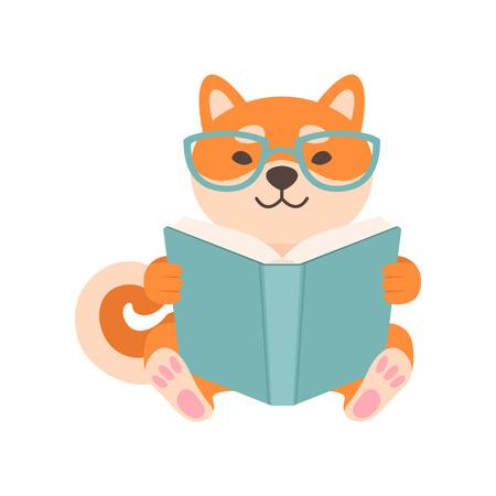 Shiba Inu Dog in Glasses Reading Book, Cute Funny Japan Pet Animal Cartoon Character Vector Illustration Standard-Bild - 119146672
