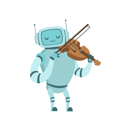 Cute Robot Musician Playing Violin Musical Instrument Vector Illustration Standard-Bild - 119146673