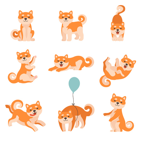 Shiba Inu Dogs Performing Everyday Activities Set, Adorable Japan Pets Animals Cartoon Characters Vector Illustration