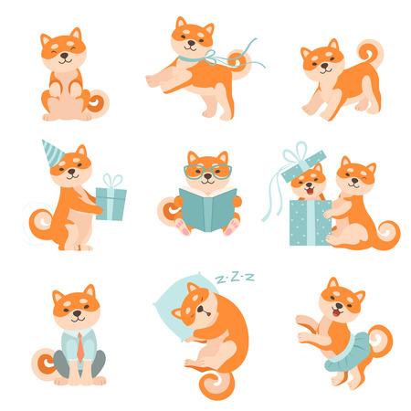 Shiba Inu psy w różnych sytuacjach zestaw, urocza Japonia zwierzęta domowe zwierzęta postaci z kreskówek ilustracji wektorowych