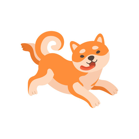 Shiba Inu Dog Running with Tongue Sticking Out, Cute Funny Japan Pet Animal Cartoon Character Vector Illustration Stock Illustratie