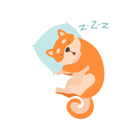 Shiba Inu Dog Sleeping on Pillow, Cute Funny Japan Pet Animal Cartoon Character Vector Illustration Standard-Bild - 119146677