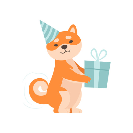 Shiba Inu Dog in Party Hat Holding Gift Box, Cute Funny Japan Pet Animal Cartoon Character Vector Illustration