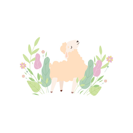 Cute Little Lamb on Green Meadow, Adorable Sheep Animal Vector Illustration on White Background.
