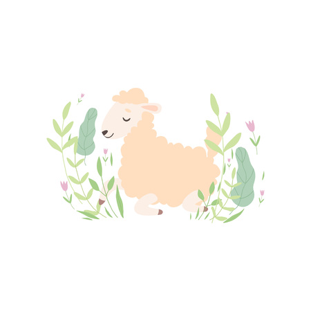 Cute Little Lamb Lying on Green Meadow, Adorable Sheep Animal Vector Illustration on White Background. Ilustracja