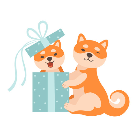 Two Cute Shiba Inu Dogs, One Dog Sitting in Gift Box, Funny Japan Pets Animals Cartoon Characters Vector Illustration Standard-Bild - 119146680