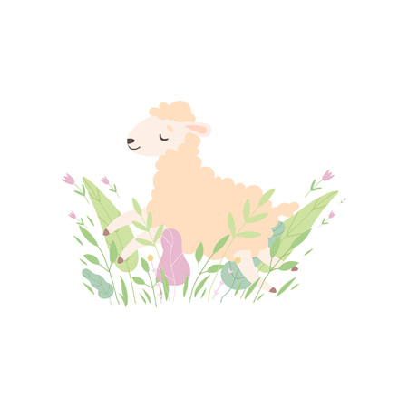 Adorable Little Lamb, Cute Sheep Animal Lying on Spring Meadow Vector Illustration on White Background. Ilustracja