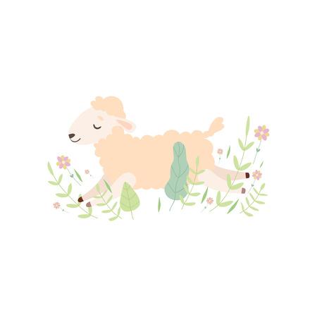 Adorable Little Lamb Sleeping, Cute Sheep Animal Lying on Green Meadow Vector Illustration on White Background. Ilustracja