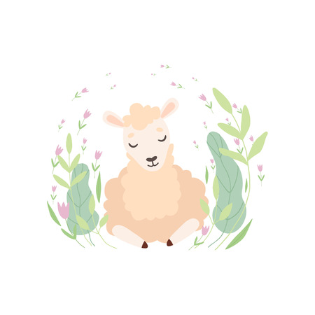 Adorable Little Lamb, Cute Sheep Animal Lying on Green Meadow Vector Illustration on White Background.